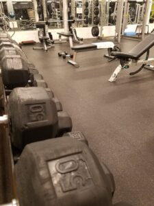 Gym and dumbbells