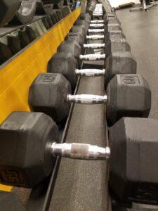 Row of dumbbells
