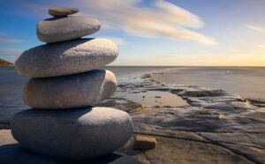 Stacked rocks on the beach