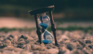 Hourglass on rocks